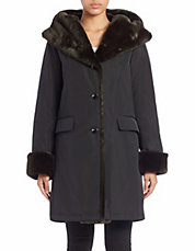 Faux Fur-Trimmed Hooded Coat