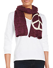 Peace Sign Knit Scarf