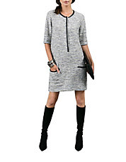 Leather-Accented Knit Shift Dress