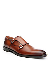 Belen Burnished Leather Monk Loafers