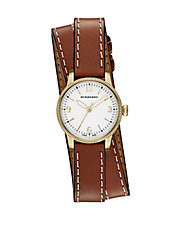 Ladies Utilitarian Leather Wrap Watch
