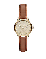 Ladies Goldtone Stainless Steel Beige Leather Strap Watch