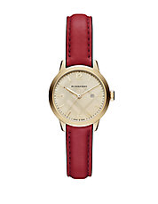 Ladies Goldtone Stainless Steel Leather Strap Watch