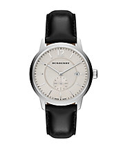 Ladies Stainless Steel Leather Strap Watch