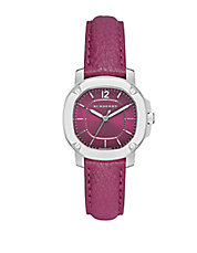 The Britain Pink Leather Strap Watch