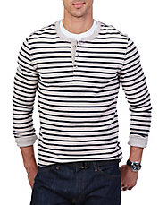 Slim Fit Striped Henley Shirt