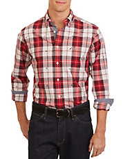 Slim-Fit Embroidered Plaid Shirt