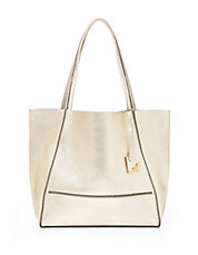 Soho Leather Zip-Trimmed Tote
