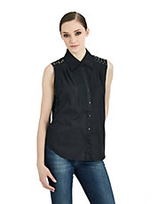 Noir Eileen Sleeveless Hi-Lo Blouse