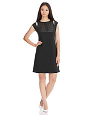 Honey Perforated Yoke Shift Dress