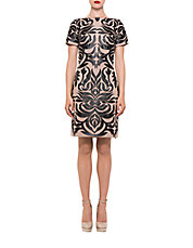 Faux Leather Patterned Shift Dress