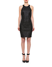 Embroidered Faux Leather Sheath Dress