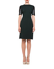 Leather-Accented Stretch Sheath Dress