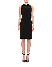 Collared Faux Leather-Trimmed Sheath Dress