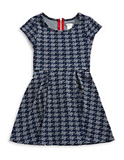 Girls 7-16 Houndstooth Fit And Flare