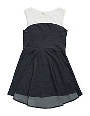 Girls 7-16 Lace And Denim Dress