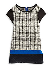 Girls 7-16 Faux Leather-Trimmed Plaid Dress