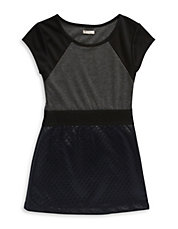 Girls 7-16 Faux Leather-Trimmed A-Line Dress