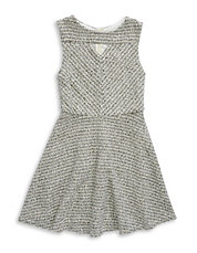Girls 7-16 Metallic Knit Fit-and-Flare Dress