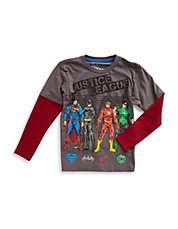 Boys 2-7 Justice League Mock Layer Tee