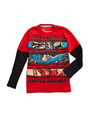 Boys 2-7 DC Super Hero Mock Layer Tee