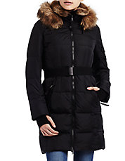 Faux Fur-Trimmed Alpine Quilted Down Coat