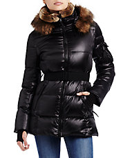 Faux Fur-Trimmed Alps Metallic Quilted Down Coat
