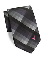Susan G. Komen Asymmetrical Checked Tie