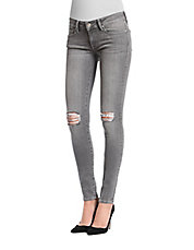 Serena Distressed Stretch-Cotton Skinny Jeans