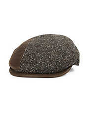 Tweed and Leather Newsboy Hat