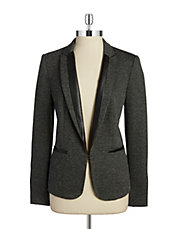 Leatherette Accented Blazer