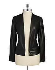 Open Front Leatherette Jacket