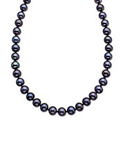 14 Kt. Yellow Gold Black Freshwater Pearl Strand Necklace