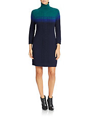 Ombre Turtleneck Sweater Dress