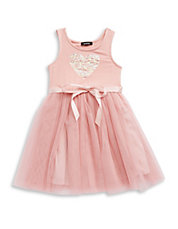 Girls 2-6x Sequined Heart Tulle Dress