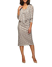 Plus Plus Sequined Lace Sheath Dress With Jacket