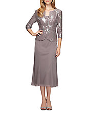 Plus T Length Dress with Sequined Jacket