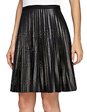 Pleated Fit-and-Flare Faux Leather Skirt