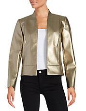 Faux Leather Open-Front Jacket