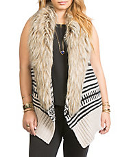 Faux Fur-Collared Tribal Knit Vest