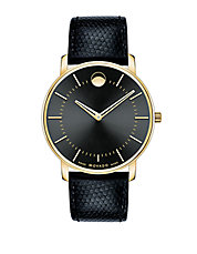 Mens Goldtone Round Watch with Leather Strap