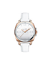 Boyfriend Mirrored Dial White Strap Watch