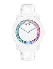 Bold White Swarovski Crystal and Stainless Steel Patent Leather Strap Watch