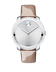 Bold Patent Leather Strap Silvertone Watch