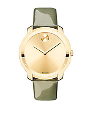 Bold Patent Leather Strap Goldtone Watch