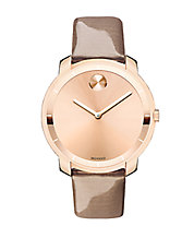 Bold Patent Leather Strap Rose Goldtone Watch