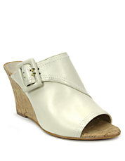Pearl Leather Open-Toe Mule Wedges