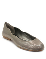 Venussia Embossed Leather Ballet Flats