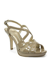 Balthasar Patent Leather Strappy Peep-Toe Sandals