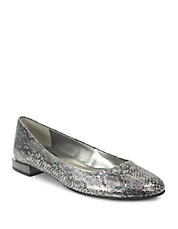 Ranma Snakeskin-Embossed Leather Block-Heel Flats